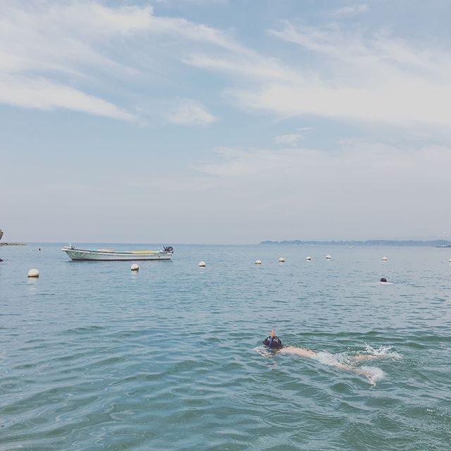 子供達の 夏の宿題。毎年 一眼レフで撮影して作ってるフォトアルバム。今年は写ルンですで水中撮影に挑戦。水中から 舟どんな感じだろー。写ってるか ドキドキのようです。#写ルンです#インスタントカメラ#スクラップブック#夏休み#油壺#homework#kids#beach#sea#summer#夏の終わり (Instagram)