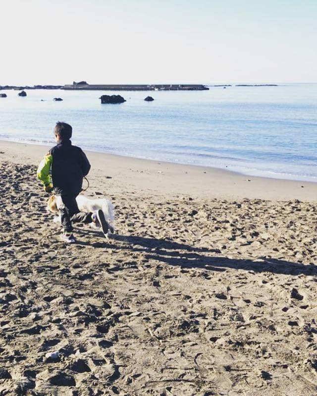 2018年。早朝トレイルランから始まった息子と姪っ子。ビーチランから始まった元旦のワンコ。#戌年#富士山#2018#新春#きょうのわんこ#一色海岸#新春#今年もよろしくお願いします (Instagram)